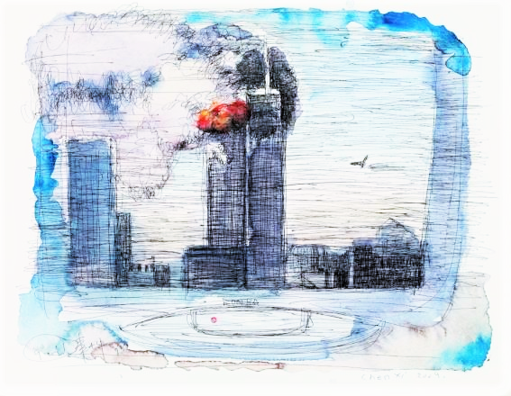 """9/11"", watercolour on paper, by Chen Xi"